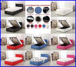 NEW Boston 3ft Single Deep Ottoman Leather Storage Gas Lift Up Bed Super Strong