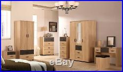 NEW Pacific Large Sonoma Oak + Grey Modern Bedroom Set 3 Door Mirrored / Combi