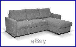 NEW UNIVERSAL CORNER SOFA BED MADRAS STORAGE GREY FABRIC RIGHT or LEFT