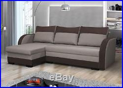 NEW UNIVERSAL CORNER SOFA BED MAXI STORAGE FABRIC GREY BROWN RIGHT or LEFT