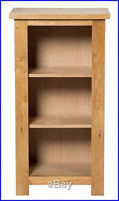 Narrow Oak Bookcase 3 Shelf Storage Low Bookshelf Solid Wood Shelving Unit