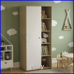 Neptune 1 Door Wardrobe 5 Shelves Cabinet Cupboard Bedroom Storage White & Oak