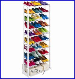 New 30 Pair Shoe Rack 10 Tier Shoe Storage Shelves Organiser Shelf Holder Stand