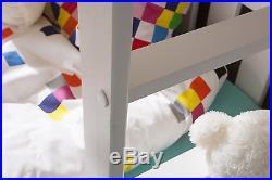 New 3 Sleeper White Bunk Beds Wooden Solid Pine Childrens Marttresses Storage