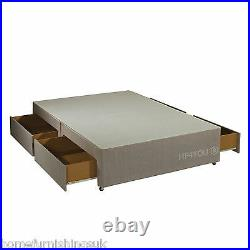 New 4FT6 Double Fawn or Charcoal Divan Bed Base + Free 4 Storage Drawers