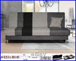 New AVESTA Click Clack Sofa Bed Grey Beige with Chrome Legs, Storage Wersalka