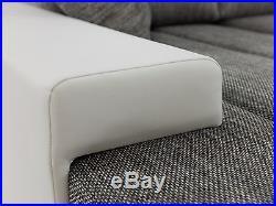 New Bangkok PU leather & fabric corner sofa with bed & storage black grey white