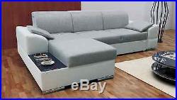 New Big Modern Fabric/Leather Corner Sofa Bed MARTIN with Storage Glass Shelf