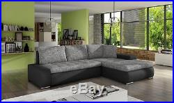 New Cascina Fabric Leather Corner Sofa Bed With Storage ...