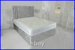 New Cassie Silver Crushed Velvet Divan Bed With Mattress And Free 20 Headboard