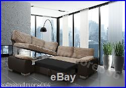 New Corner Sofa Bed Enzo Brown Jumbo Cord Fabric Leather With Storage Left Hand