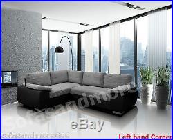 New Corner Sofa Bed Enzo Grey/black Jumbo Cord Fabric With Storage Left Hand