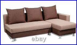 New Corner Sofa Bed Grey Brown Right Left Scatter Back Storage Bonnel Spring