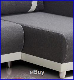 New Corner Sofa Bed With Storage Fabric Grey White Ikea ...