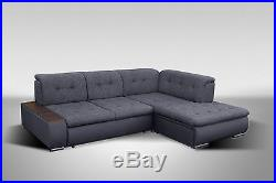 New Grey Brown Black Fabric/Leather Big Corner Sofa Bed BOB ...