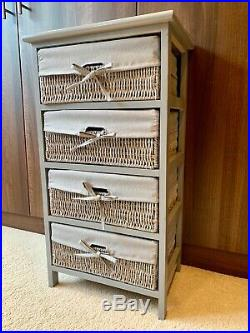 New Grey Large Tall Wicker Basket Drawers Storage Unit Cabinet Ready Assembled