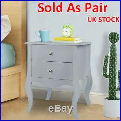 New Pair Bedside Chests SideTable 2 Drawer Cabinet Storage Nightstand Furniture