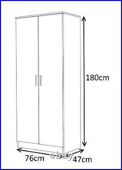 New REFLECT High Gloss 2 Door Soft Close Wardrobe Bedroom Black / Black Oak