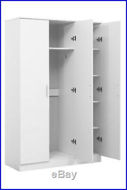 New REFLECT High Gloss 3 Door Mirrored Wardrobe Bedroom White / Matt White