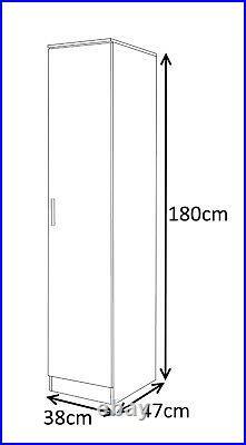 New REFLECT Slim High Gloss 1 Door Soft Close Wardrobe Bedroom Grey Matt / White