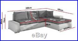 New casina fabric leather corner sofa bed with storage black grey white