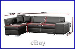 New catania faux leather corner sofa + bed z funkcja spania storage in black
