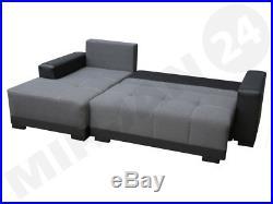 New cimiano leather fabric corner sofa z funkcja spania bed storage black grey