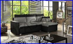 New flavio faux leather & fabric corner sofa bed settee storage black grey white