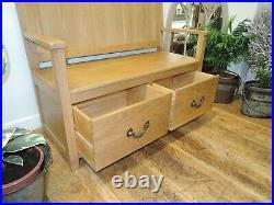 North American Oak Hallway/ Kitchen 2 Seater Monks Bench With 2 Drawer Storage