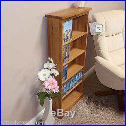 Oak DVD Storage Rack Tower Unit Holds 140 DVDS Or 200 Cds