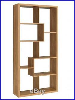Oak Finish Storage Shelf Room Divider Shelving Unit Living Room Shelves Display