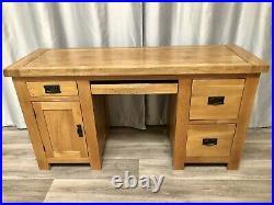 Oak Furniture 100% Solid Oak Office Desk Table Pedestal Storage & Leather Chair