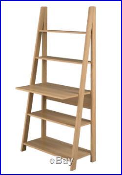 Oak Ladder Display Shelving Computer Office Study Desk Storage Shelf