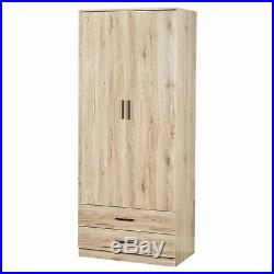 Oak Wardrobe With 2 Doors And 2 Drawers Bedroom Storage Hanging Bar Clothes