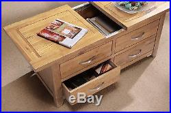 Oakland Oak Large Storage Coffee Table with Drawers and Sliding Top / Solid Wood