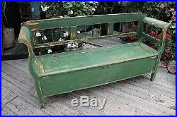 Old Antique Pine/green Painted Hungarian Box/ Storage Bench/ Settle- We Deliver