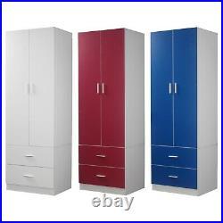 Orlando Wooden 2 Door With 2 Drawers Kids Wardrobe Bedroom Storage Hanging Bar
