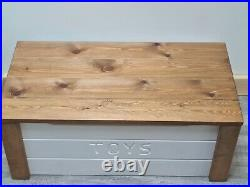 PERSONALISED toy box solid wood storage chest fully assembled