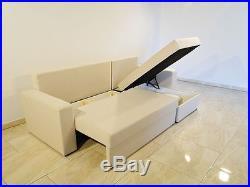 PROMOTION Elegant Cream Corner Sofa Bed TOM with 2 Storages Foam Pillows Springs