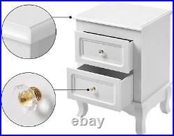 Pair Bedside Tables White French Country Storage Drawers Glass Knobs Set Of 2