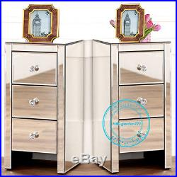 Pair Slim Narrow Bedroom Bedside Table Cabinet Glass Mirrored Storage 3 Drawers