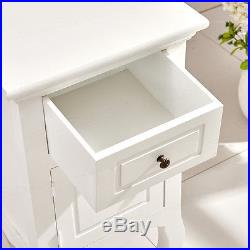Pair of Wooden White Bedside Table Storage Cabinet with Drawer Bedroom Furniture