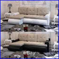 Panana Calasetta Faux Leather & Fabric Corner Sofa Bed Settee Ottoman Storage
