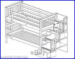 Pine Bunk Bed Bedroom Storage Drawer Cupboard Bookshelf Ladder Child Adult Large