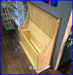Pine Settle Skew Pew Monks Bench Seat Lift Up Lid for Storage Traditional Chair