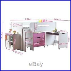 Pink Cabin Bed Children Kids Ladder Desk Storage Shelves Furniture Bedroom Home