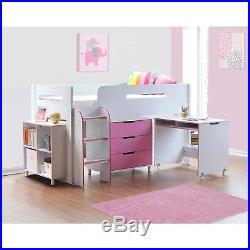 Pink Cabin Bed Midsleeper + Mattress Options + Storage With Desk
