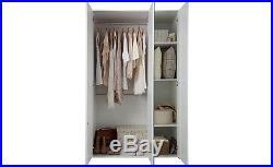 Pink Gloss Triple Wardrobe White 3 Door Girls Childs Childrens Bedroom Storage