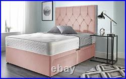 Pink Plush Velvet Divan Bed Set, Semi Orthopeadic Memory Foam Mattress, Headboard