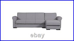 Pisa Corner Sofa Bed With Storage Left or Right Beige Fabric with two pillows
